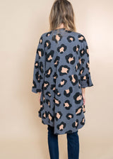 Leopard Kimono Cardigan - Charcoal | FINAL SALE, CLOTHING, Heimish, BAD HABIT BOUTIQUE