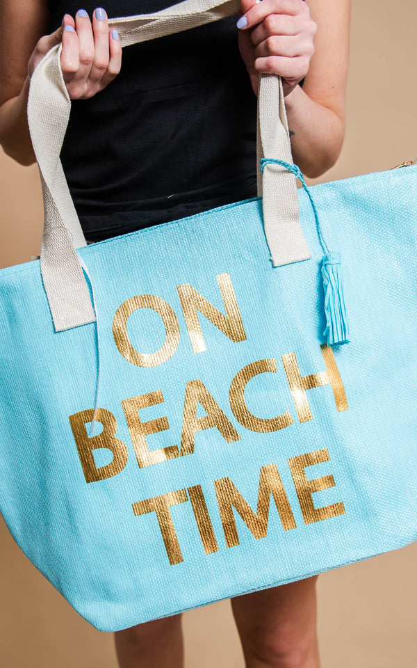 on beach time tote handbag