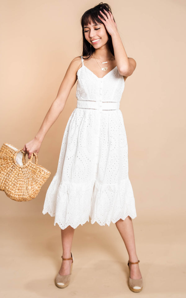 A Million Reasons Eyelet Midi Dress - BAD HABIT BOUTIQUE