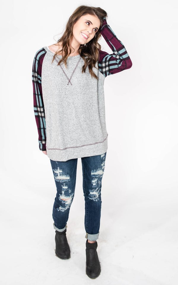 Plaid Baseball Top, CLOTHING, Honey Me, BAD HABIT BOUTIQUE