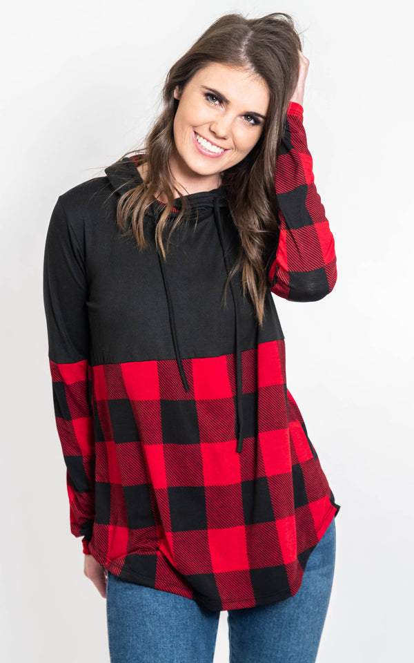 At the Cabin Buffalo Plaid Hoodie-FINAL SALE, , SEW IN LOVE, BAD HABIT BOUTIQUE