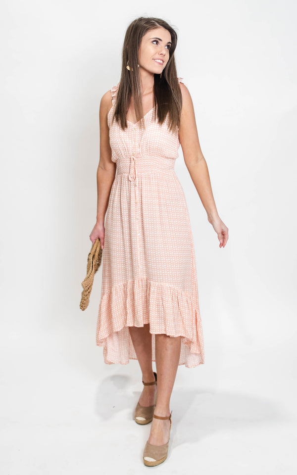peaches and cream spring dress