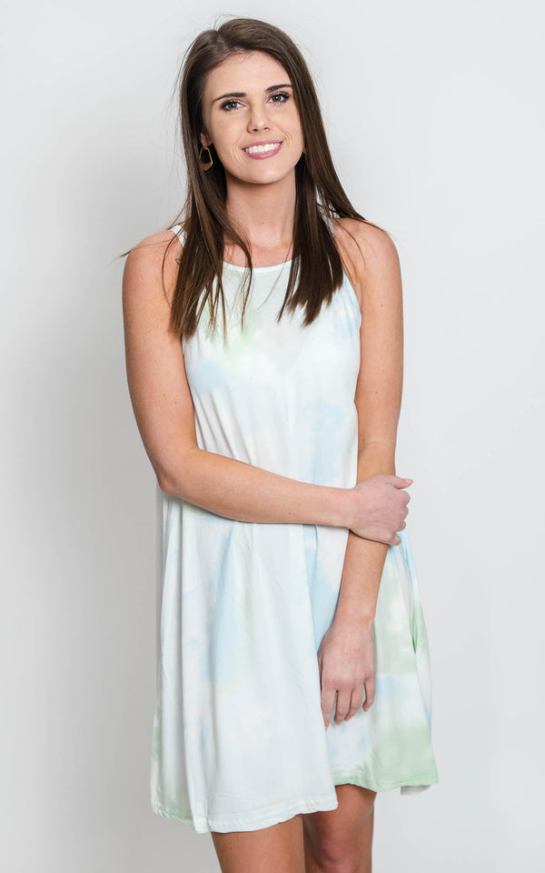 soft hues of spring tie dye dress