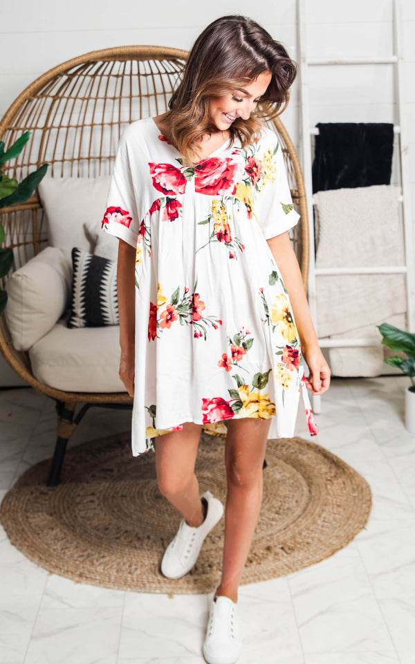 Floral Babydoll Tunic Top