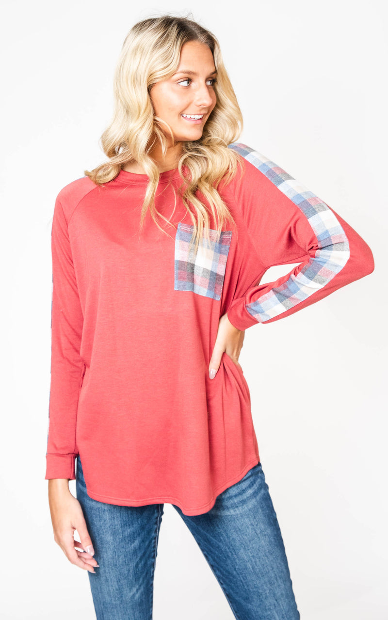 A Touch of Plaid Top-FINAL SALE, Clothing, Heimish, BAD HABIT BOUTIQUE