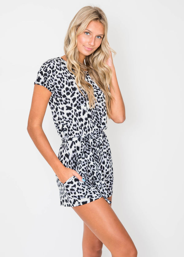 Gray Leopard Romper | FINAL SALE, CLOTHING, Heimish, BAD HABIT BOUTIQUE