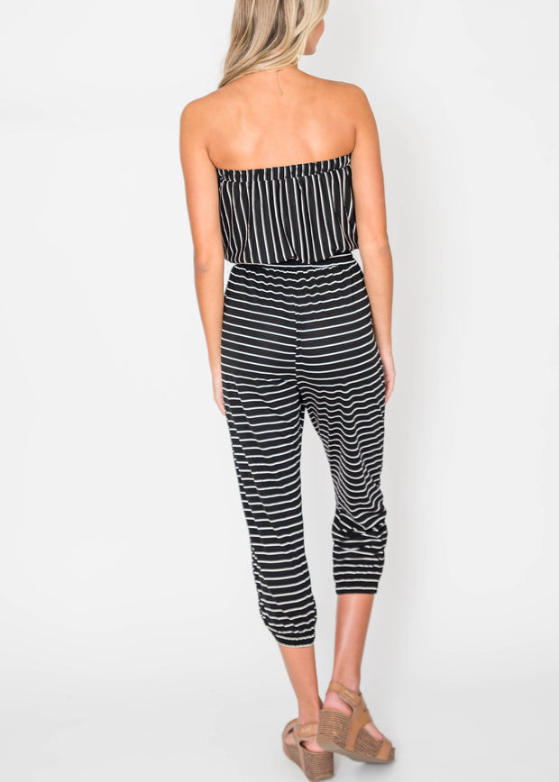 black sunkissed stripe jumpsuit