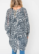 Cheetah Kimono Cardigan - Gray | FINAL SALE, CLOTHING, IJOAH, BAD HABIT BOUTIQUE