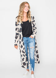 cheetah duster cardigan