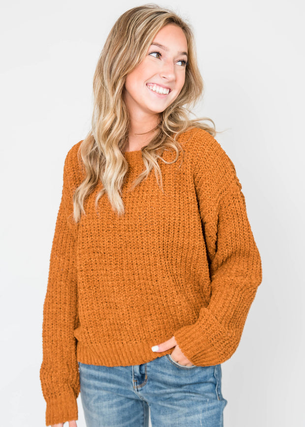 cinnamon chenille sweater