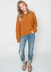 chenille like sweater cinnamon