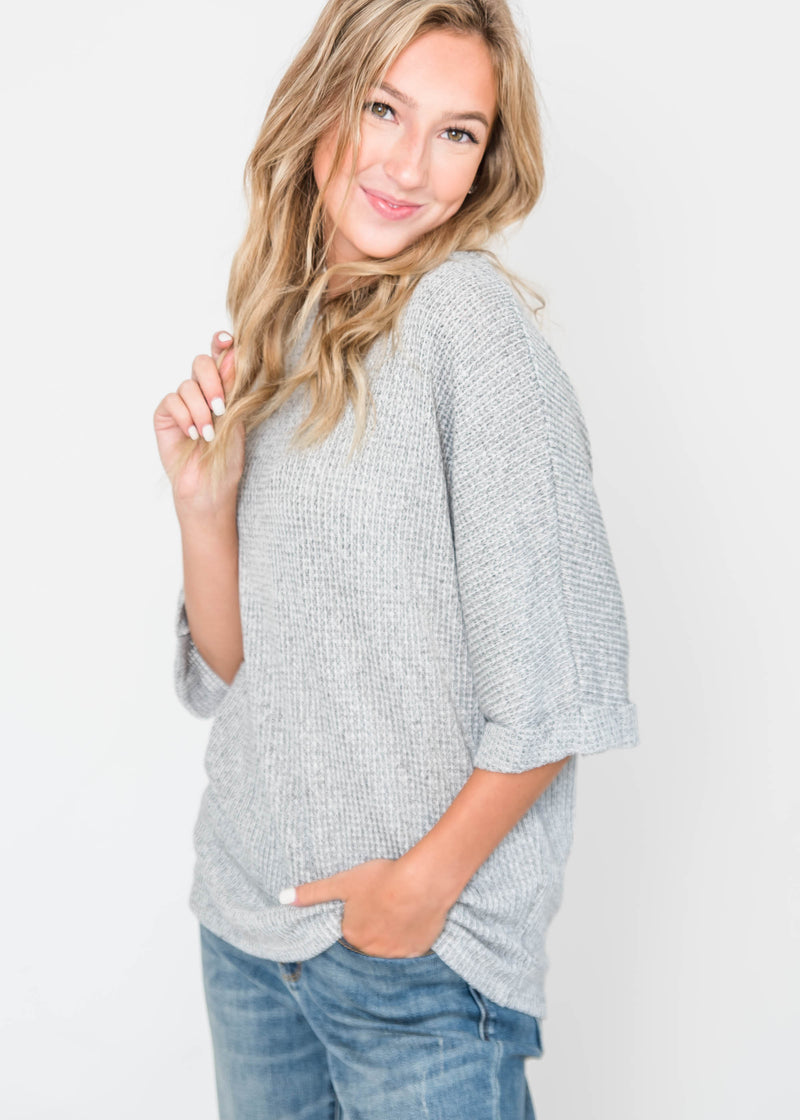 Just Beautiful Waffle Knit Top, CLOTHING, Ginger G, BAD HABIT BOUTIQUE