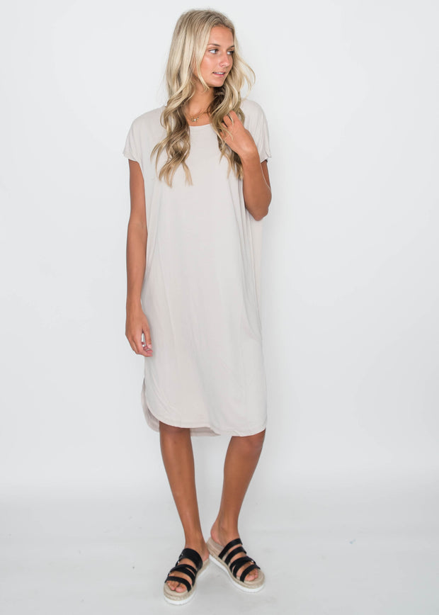 Drop Shoulder Midi Dress Moth Gray