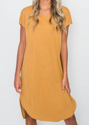 Mustard Drop Shoulder Midi Dress