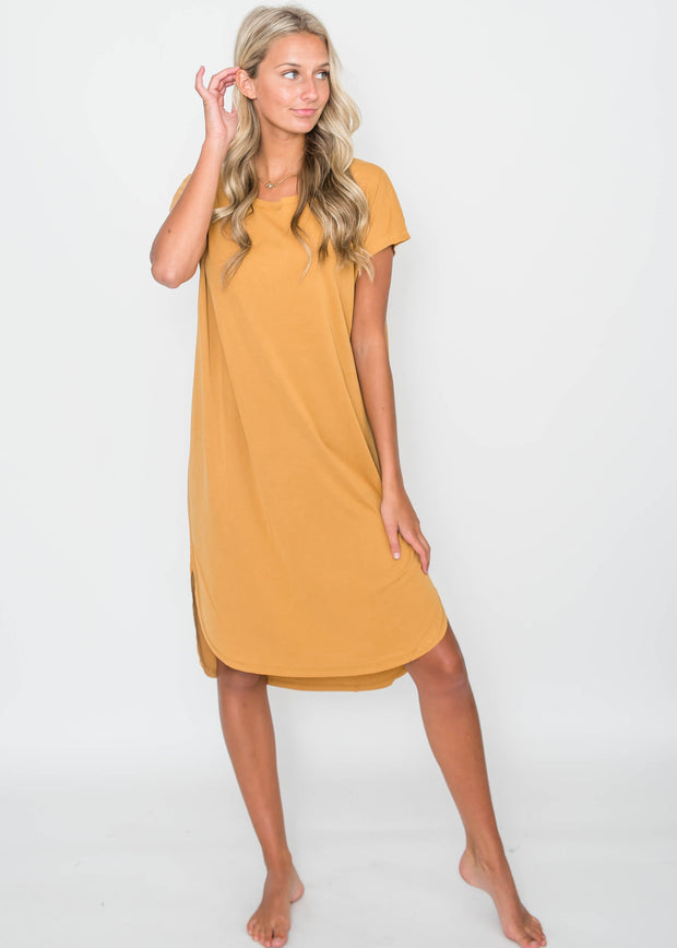 Drop Shoulder Midi Dress Mustard