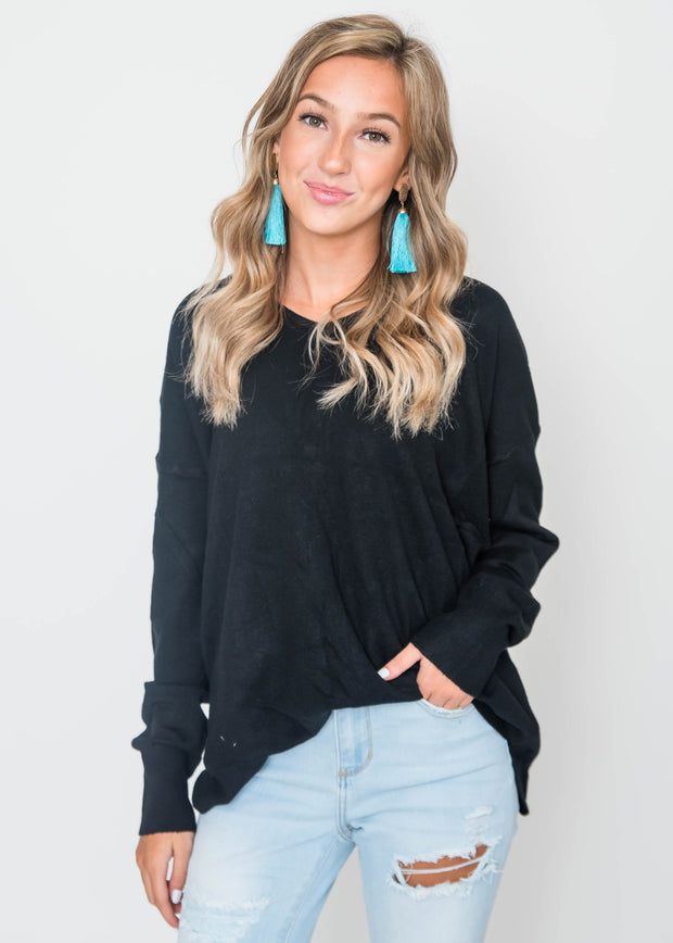 all about the back sweater black