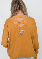 all about the back sweater marigold