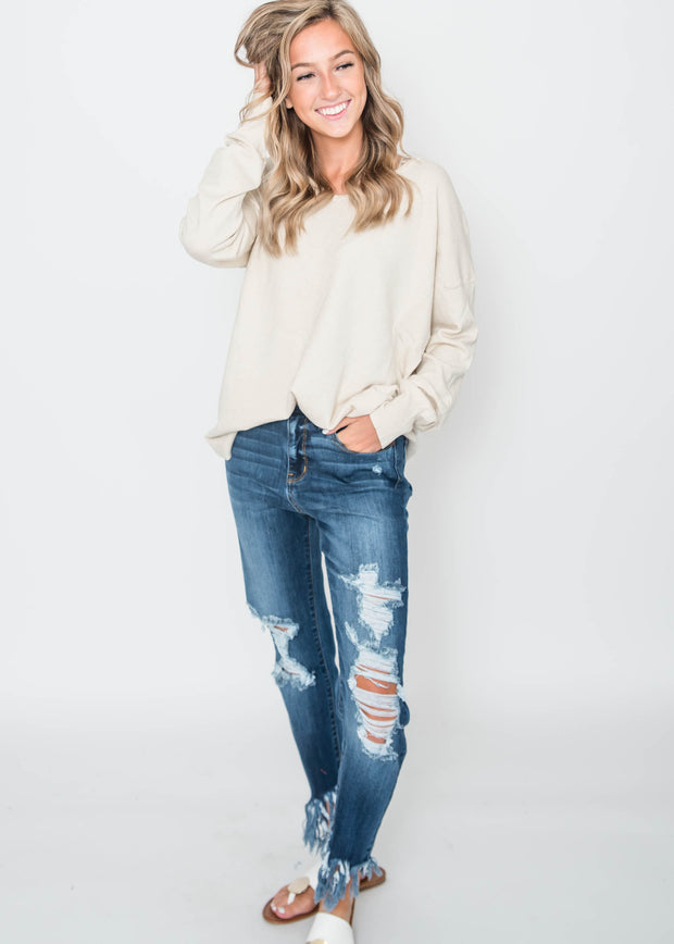 all about the back sweater oatmeal