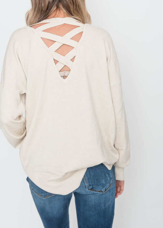 all about the back oatmeal sweater