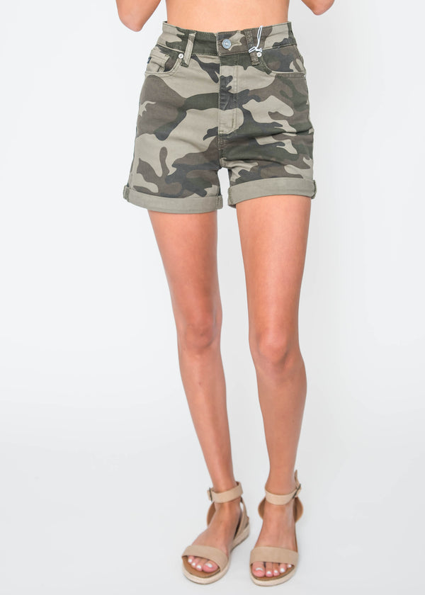 High Rise Camo Shorts - Kan Can | FINAL SALE, CLOTHING, KAN CAN, BAD HABIT BOUTIQUE