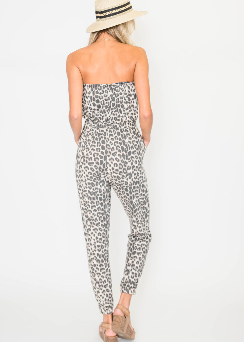 Leopard Tube Top Jumpsuit | FINAL SALE, CLOTHING, Cherish, BAD HABIT BOUTIQUE