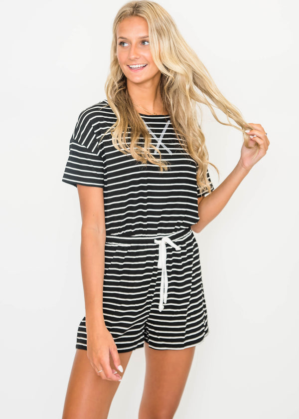 Summer Stripes Black Romper | FINAL SALE, CLOTHING, Cherish, BAD HABIT BOUTIQUE