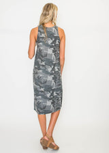 Camouflage Gray Sleeveless Dress - BAD HABIT BOUTIQUE