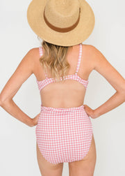 Pink Gingham Plaid One Piece Swim Suit