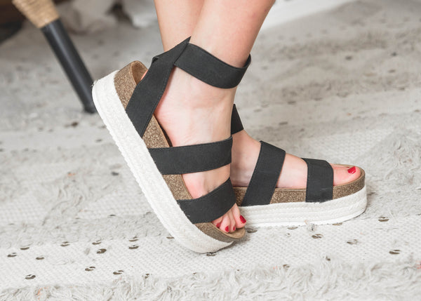 Strapped Platform Black Sandal -Qupid | FINAL SALE, SHOES, Qupid, BAD HABIT BOUTIQUE