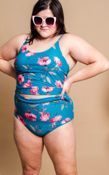 Wrap Front High Rise Floral Reversible Bikini Bottom - Blue - BAD HABIT BOUTIQUE