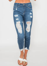 Super Distressed Capri Jeans | FINAL SALE, CLOTHING, JUST USA, BAD HABIT BOUTIQUE
