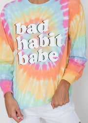 Bad Habit Babe Tie Dye Long Sleeve Top, CLOTHING, S&S, BAD HABIT BOUTIQUE
