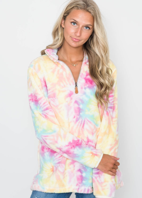 30 Days 30 Deals: Tie Dye 1/4 Zip Sherpa Pullover - Multi- final sale, CLOTHING, BAD HABIT APPAREL, BAD HABIT BOUTIQUE