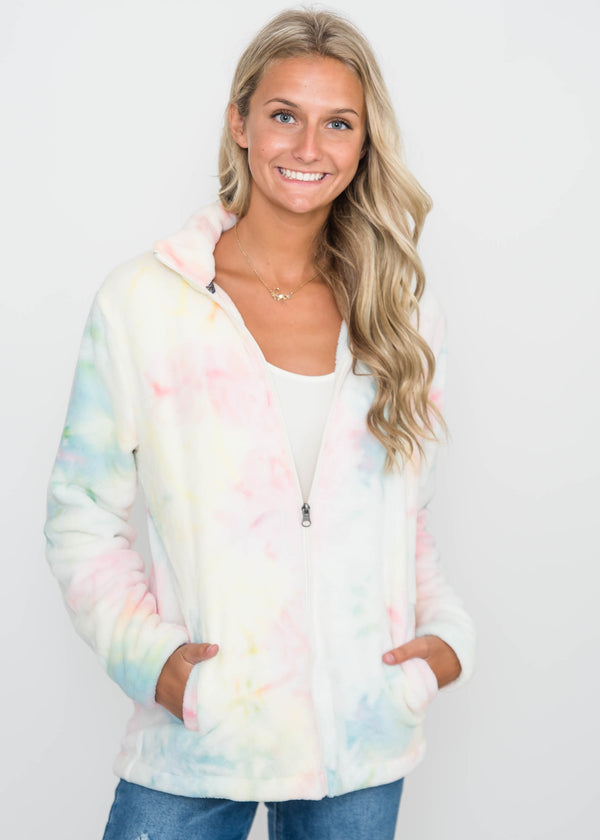 30 Days 30 Deals: Dream Tie Dye Zip Up Sherpa Jacket-final sale, CLOTHING, BAD HABIT APPAREL, BAD HABIT BOUTIQUE