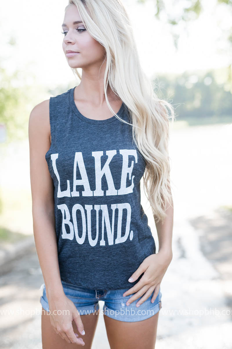 Lake Bound Muscle Tank -Charcoal, CLOTHING, BAD HABIT APPAREL, BAD HABIT BOUTIQUE