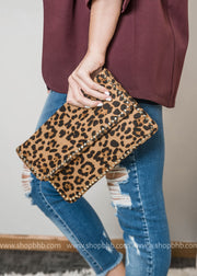 clutch studded leopard handbag