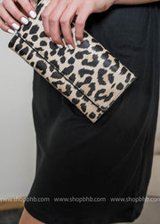 leopard clutch with gold chain