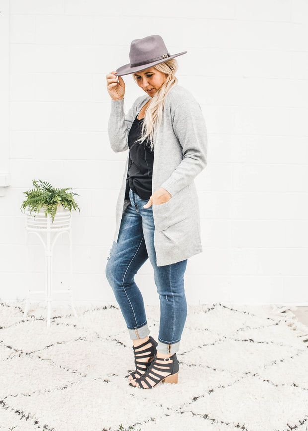 my forever basic cardigan in heather gray
