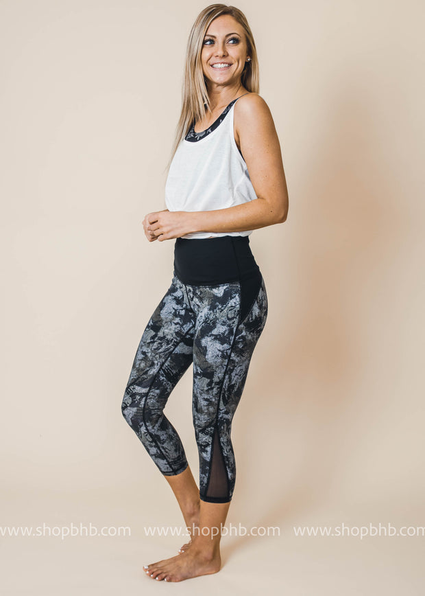 ocean chevron colorblock Mesh Capri leggings