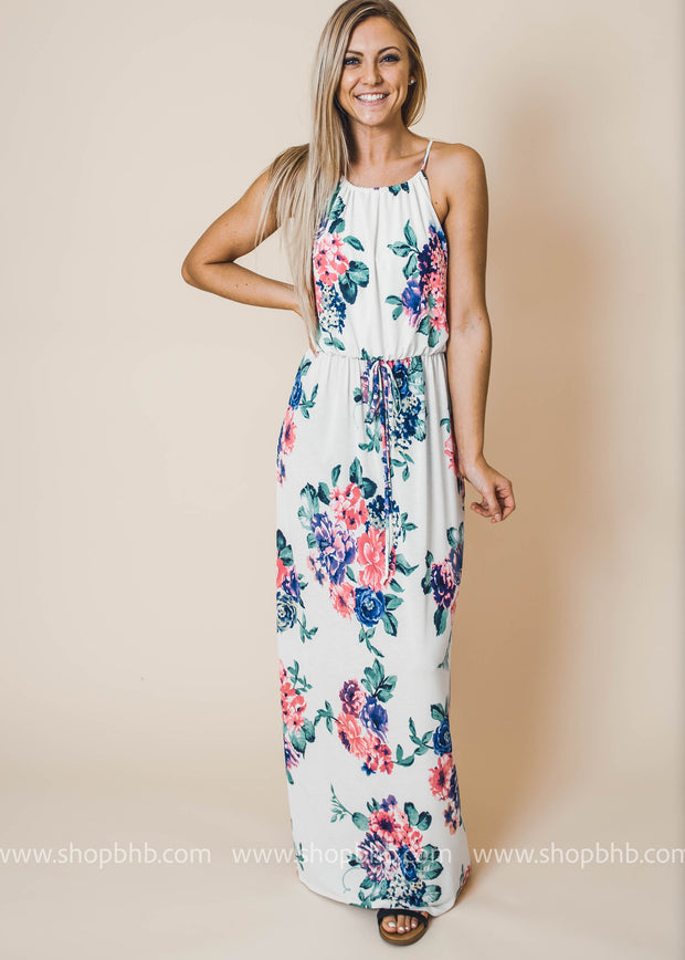 cd02d8bedb4c Bulgari Floral Halter Maxi Dress - Ivory, MAXI DRESS, Vanilla Bay, BAD  HABIT.