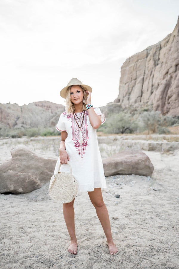 Sea and be Seen Short Sleeve Embroidered White  Dress - BAD HABIT BOUTIQUE