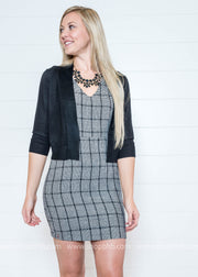 Glen Plaid Dress- Black, DRESSES, HyFve, badhabitboutique