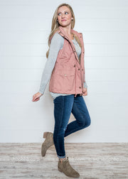 Mauve Hooded Utility Vest