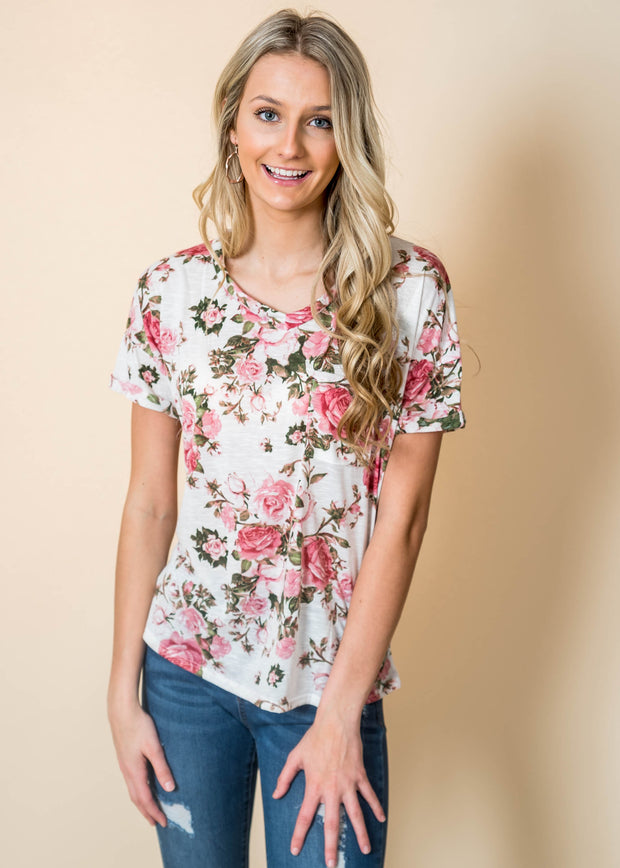 floral short sleeve v neck pocket tee ivory