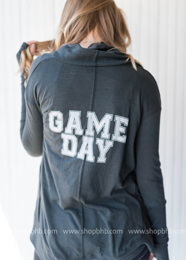 eco gray game day cardigan