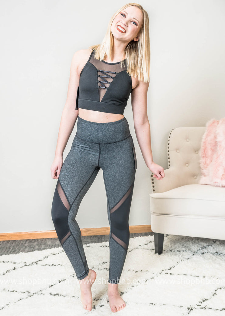 highwaist slanted colorblock mesh full leggings worn with the wraparound lace front sports bra