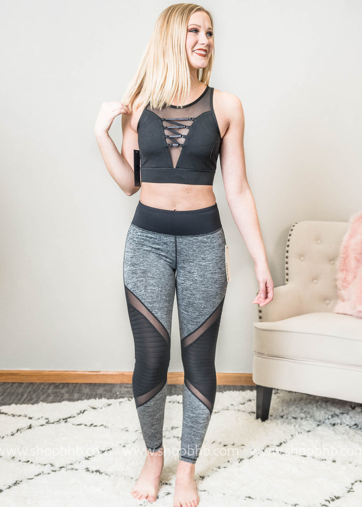 Color Block Marbled Gray Full Leggings with Mesh Detail, ACTIVEWEAR, Mono B, BAD HABIT BOUTIQUE