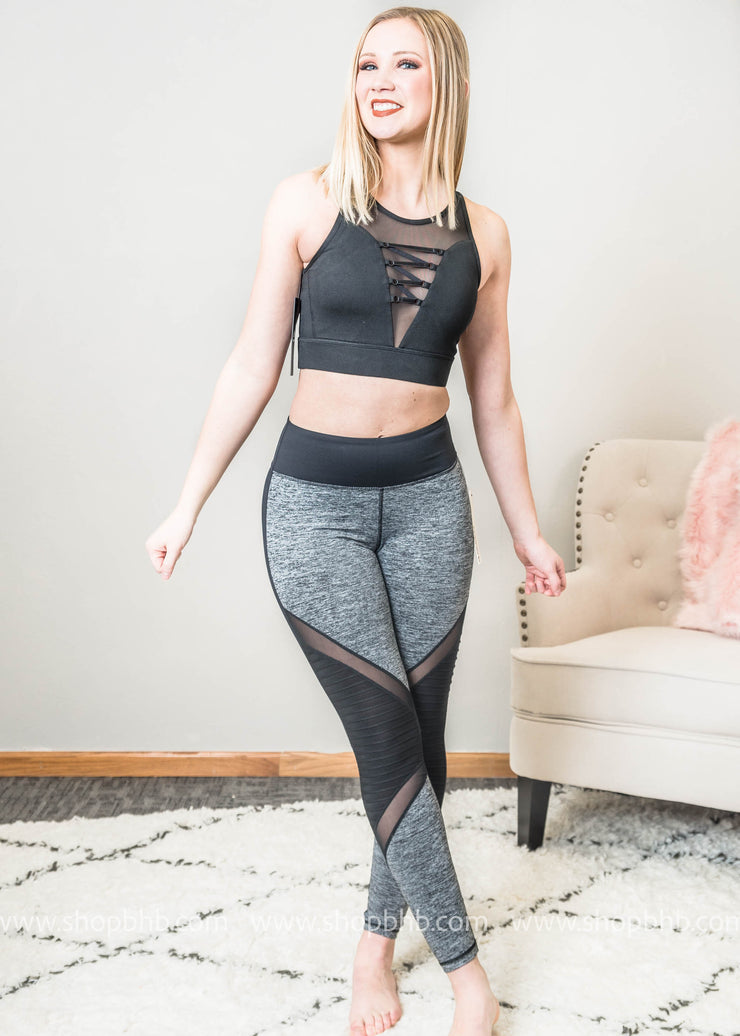 Color Block Marbled Gray Full Leggings with Mesh Detail, CLOTHING, Mono B, BAD HABIT BOUTIQUE