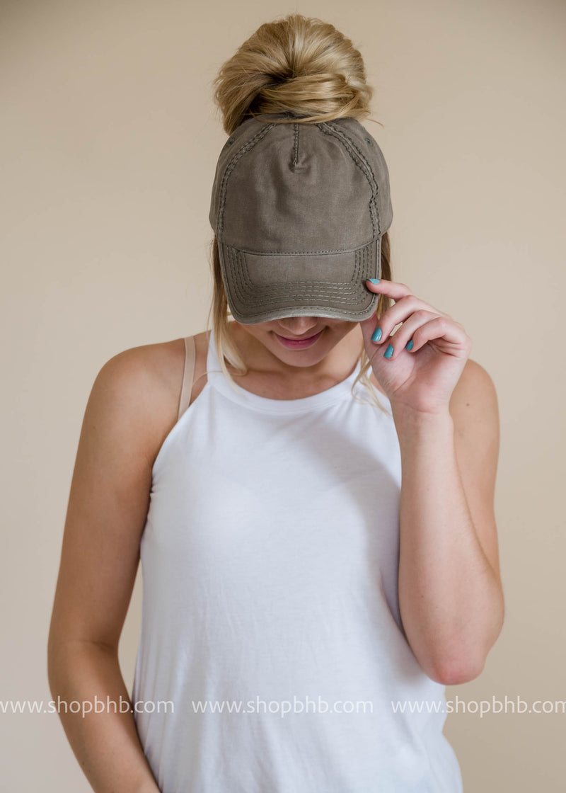 Baseball Ponytail Hat, ACCESSORIES, Olive & Pique, BAD HABIT BOUTIQUE