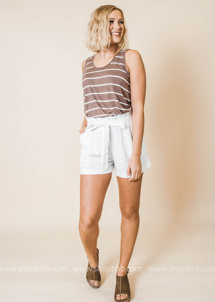 ivory belted pocket shorts